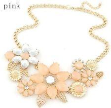 Hot Fashion Women Pink Flower Choker Bib Statement Necklace Collar Chain Pendant