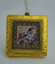 "4.5"" Square Gold Glass Ornament Glitter Blue Bird"