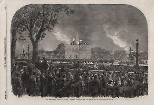OLD 1864 PRINT EMPEROR'S FETE PARIS MOORISH PAVILION PLACE DE LA CONCORDE b100