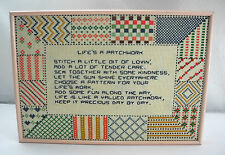 "Framed ""Life's A Patchwork"" Quilt Pattern Border Counted Cross Stitch Sampler"