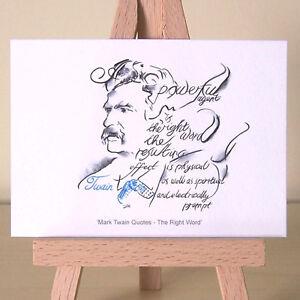 Tom Sawyer Huckleberry Finn American Author Mark Twain Art Deco Portrait ACEO