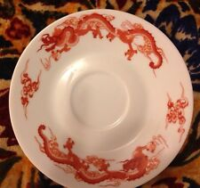 Tiffany & Co. Fine China Red & White Fukagawa Dragon Saucer Plate - NICE!