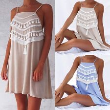 Boho Women Ladies Sleeveless Mini Chiffon Dresses Tassel Summer Beach Dress .·