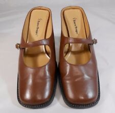 Bear Traps GOLDEN Womens Sz 8 M Leather Mary Jane Style Block Heel Mules Brown