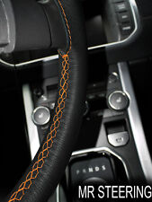 FITS BMW 7 E38 1994-2001 BLACK LEATHER STEERING WHEEL COVER ORANGE DOUBLE STITCH