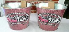 COORS LIGHT NFL BEER BUCKETS LOT OF 2 Small Ice Bucket Bar Football >NEW<