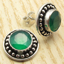 U23013 Green Onyx 925 Sterling Silver Plated Stud Earrings 15.mm Fashion Jewelry Earrings