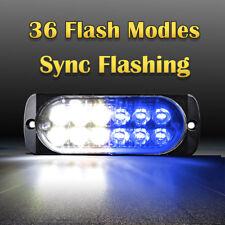 12 LED Car Emergency Hazard Warning Beacon 36W Strobe Light Bar Grill Blue White