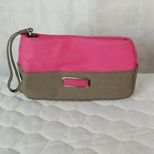 Victoria's Secret Faux Leather Pink & Taupe Cosmetic Bag Clutch Wristlet  EUC