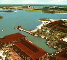 Aerial Polynesian Village tropical Walt Disney World Resort FL Vintage Postcard