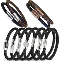 Genuine leather high quality men's braided bracelet with stainless steel clasp