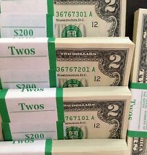 Lot of 50-$2 Bills CURRENCY~TWO DOLLAR US NOTES CRISP MONEY UNCIRCULATED! RARE!!