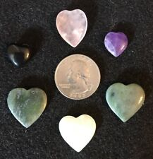 Polished Stone Pendants Hearts ~ Jade, Amethyst, Rose Quarts ++ (Lot of 6) [#3]
