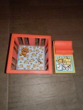 1972 Vintage Fisher Price Red Crib/Play Pen Playpen And Yellow Changing Table