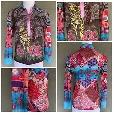 Asian Tiger Print Stretch Henley Snap Top Shirt Gorgeous Size Small