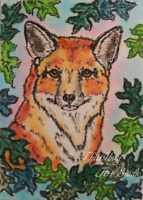 ACEO Red Fox Dog Animal Original Artwork Original Art Card Signed by Artist