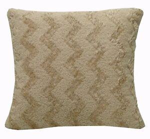 fd08a Sand Color Soft Fleece Zig Zag Wave Cushion Cover/Pillow Case Custom Size