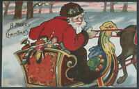 Santa Claus in Sleigh~Sled~ with Toys~Reindeer~Antique Christmas Postcard-a832