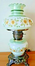 Gone With The Wind Gim Hurricane Table Lamp White Glass Green Bands White Roses