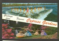 Unused Postcard Greetings from Famous Cypress Gardens Florida FL Water Skiing