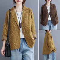ZANZEA UK Womens Printed Cardigan Casual Loose Coats Jackets Outwear Blazer Plus