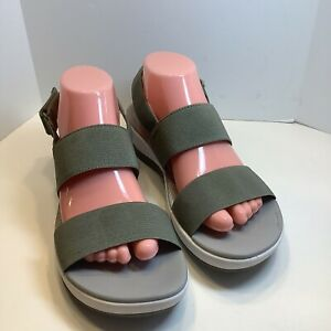 Clarks Cloudsteppers Green Textile Slingback Wedge Sandals Womens sz 10M,  15906