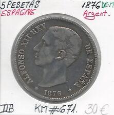 ESPAGNE - 5 PESETAS - 1876 DE-M (ALFONSO XII) Pièce de Monnaie en Argent // TTB
