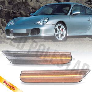 Clear Lens Sequential LED Front Side Marker Light for 97-04 Porsche 911 996 986