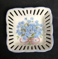 Reutter Porzellan Blue Floral Trinket Dish Bow Reticulated Design West Germany