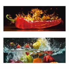 ARTland Wandbild Alu gebogen 100x40 cm 3D Optik Panorama Essen Obst Bilder Küche