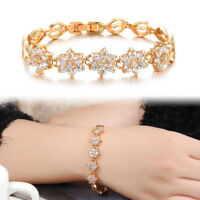 Fashion Gold Plated Flower Crystal Chain Bracelet Women Cuff Bangle New Jewelry