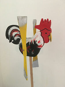 Wooden Windmill Rooster Wind Spinner Whirligig Folk Art Hand painted Small 19cm