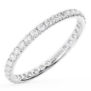 1.0Ct Claw Set Round Brilliant Cut Diamond Full Eternity Ring in 18K White Gold