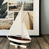 Handcrafted Wooden Pond Yacht Sailboat Model Nautical Decor
