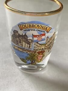 Hard To Find-Dubrovnik shot glass gold With rim