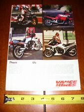 1983 KAWASAKI GPZ VANCE & HINES PRO STOCK DRAGBIKE ACCEL 2 FOR 1 - ORIGINAL AD