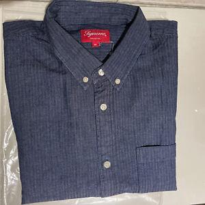 Supreme Oxford Button Down Shirt LS Navy Blue Size XL Box Logo