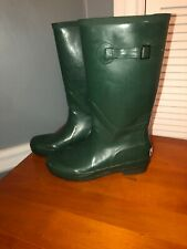 L.L. Bean Green Wellie Rubber Buckle Rainboots Size 9