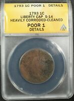 1793 Liberty Cap Flowing Hair Copper Large Cent S-14 ANACS PO 01 Details