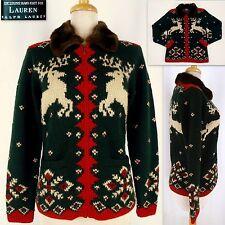 RALPH LAUREN Zip Cardigan Sweater S Hand Knit Wool Reindeer Faux Fur Collar