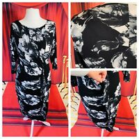 Ladies Grey/Black Dress Size 16 PER UNA Bodycon Stretchy 3/4 Sleeve Smart Work