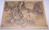 "REINHOLD H. PALENSKE Original Drawing Western Scene ""Making a Home"" Sketch"