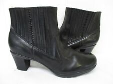 CLARKS Black Leather Zip Ankle Boots Womens Size 11 M Style 83576