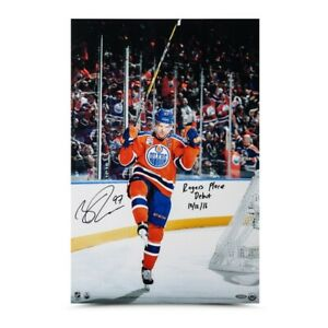 """Connor McDavid Autographed 16X24 Photo Inscribed """"Rogers Place Debut"""" Oilers UDA"""