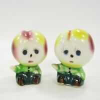 Vintage Anthropomorphic Peach Head People Salt Pepper Shaker Set Japan   INV248