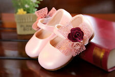 Baby Girls Flower Bow Christening Party Shoes Gold Pink White 3 6 9 12 15 Months