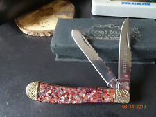 """4""""  2 BLADE TRAPPER POCKET KNIFE BEAR & BULL RED ABALONE CRUSHED PREMIER EDITION"""