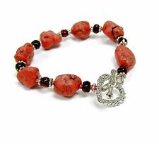 "Coral Red Western Style Gem Stone Toggle Non Stretch Bracelet 7.25"" New w/ bag"