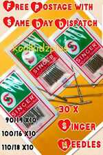 30 x SINGER SEWING MACHINE NEEDLES> SIZE 14,16 & 18>10 OF EACH>FOR MANY MACHINES