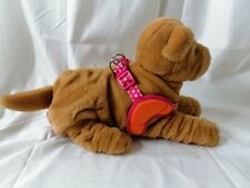 Pink spotty dog harness Padded Support, Bone Clip